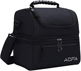 AOFA Lunch Box Insulated Lunch Bag Leakproof Double Compartment Lunch Bag Large Cooler Tote Bag for Picnic/Office/College