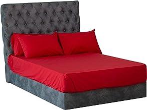 طقم ملاية سرير سادة من المأمون، 4 قطع - أحمر