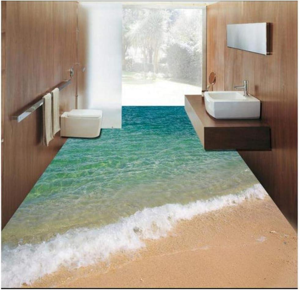 Custom 3D Floor Wallpaper Sea 期間限定お試し価格 Water Wate Mural 数量限定 PVC Wave Bathroom