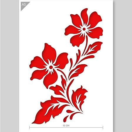 QBIX Stencil fiore - Stencil fiori di campo - Stencil due fiori - Formato A5 - Stencil fai-da-te riutilizzabile adatto ai bambini per pittura, cottura, artigianato, parete, mobili
