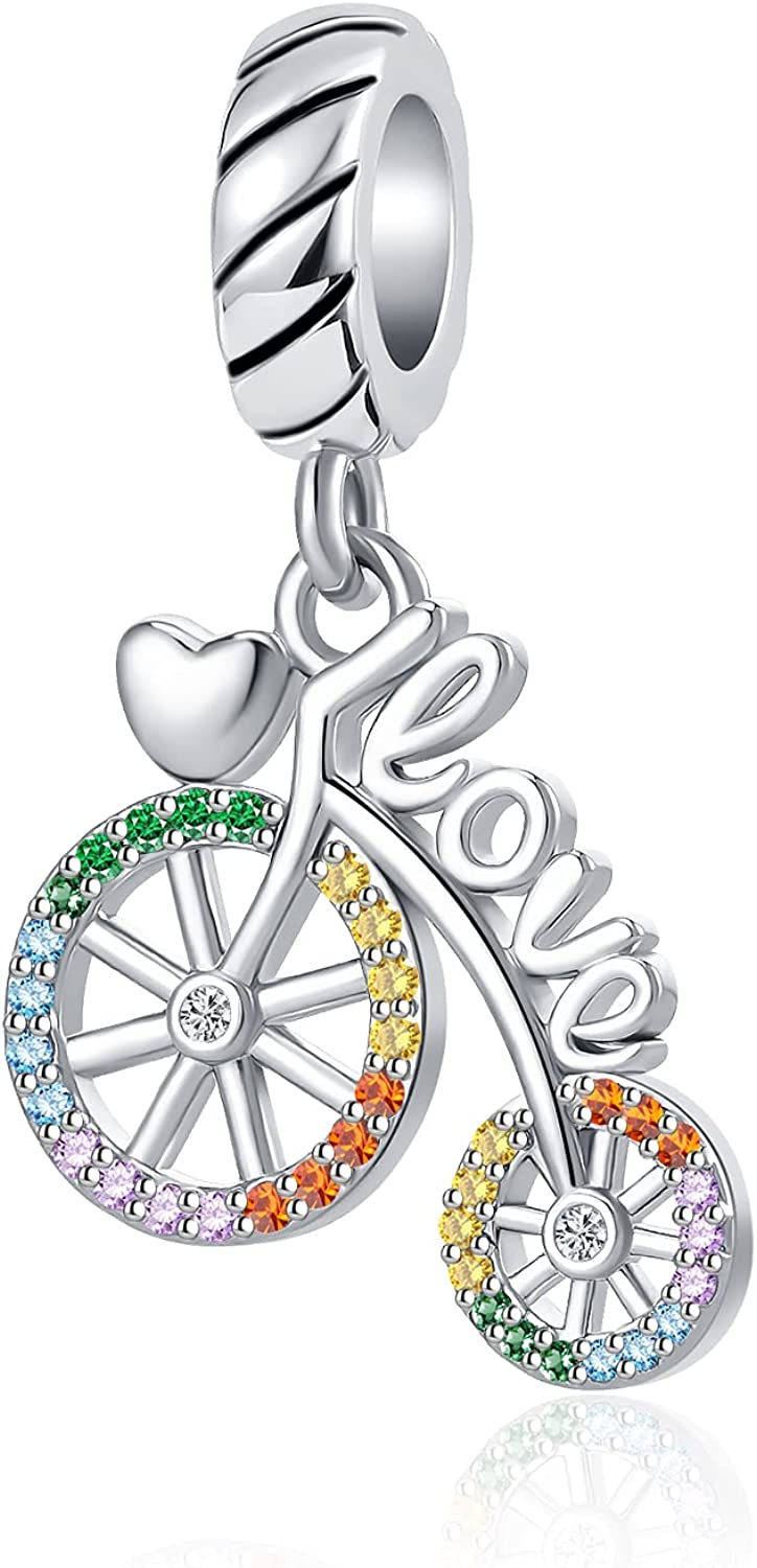 NanMuc Love Sport Bicycle Colorful Crystal Women's Bead Charms for Bracelets for Teen Girls
