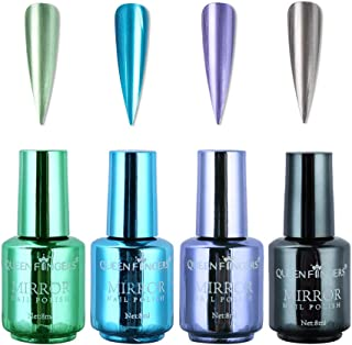 4 Pcs Plating Metallic Nail Polish Set, Salon Nails Pigment Half Mirror Chrome Nail Polish Lacquer, Nails Art Glitter Chrome Metallic Effect Manicure, Violet, Gray, Mint Green, Blue