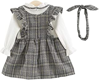ALLAIBB Baby Girl Long Sleeve Dress Outfit Ruffle Plaid Cute Onesies+Headband