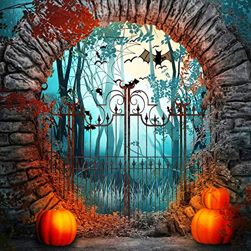 HD 7X5FT Psychedelic Mushroom Backdrop Creepy Halloween Night Orange Pumpkins and Butterflies in The Forest Cat and Castle Photography Backdrop for Party Decor Banner Portrait Photo Booth Props