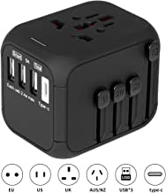 SincereFly Type-C Travel Plug Outlet Adapter-Europe USA UK AU, 1 Type-C & 3 USB Ports, Universal Wall Plug Charger Adapter, International AC Outlet Converter for Over 170 Countries