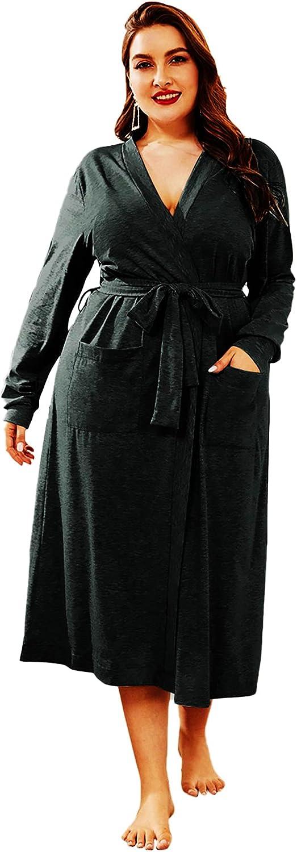 MakeMeChic Women's Plus Size Solid Dual Pocket Long Sleeve Belted Robe Sleepwear