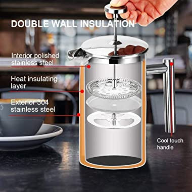 Secura French Press Coffee Maker, 304 Grade Stainless Steel Insulated Coffee Press with 2 Extra Screens, 34oz (1 Litre), Silv
