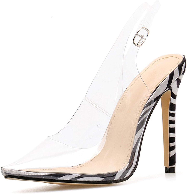 Transparent Leopard Zebra Pattern High Heels Sandals Sexy Stiletto Pointed shoes