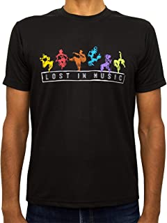 Tee Tribe Black Dri-Fit (Dry-Fit) T-Shirt with Lost in Music Text and Trendy Modern Graphic Art. Perfect Active Wear for M...