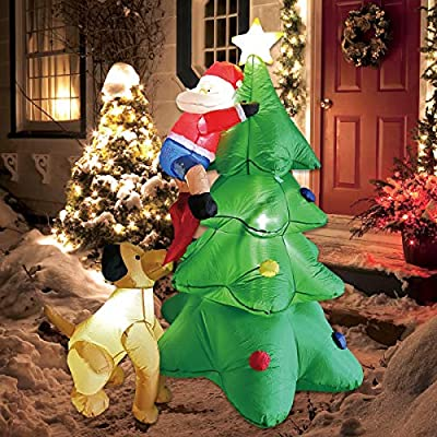 Inflatable Dog with Santa Claus on Xmas Tree Blow Up Christmas Decorations