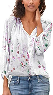 OULSEN Fashion Chic Women Floral Blouse Long Sleeve V Neck Button Summer Loose Casual Shirt Blouse Tops Women Plus Size