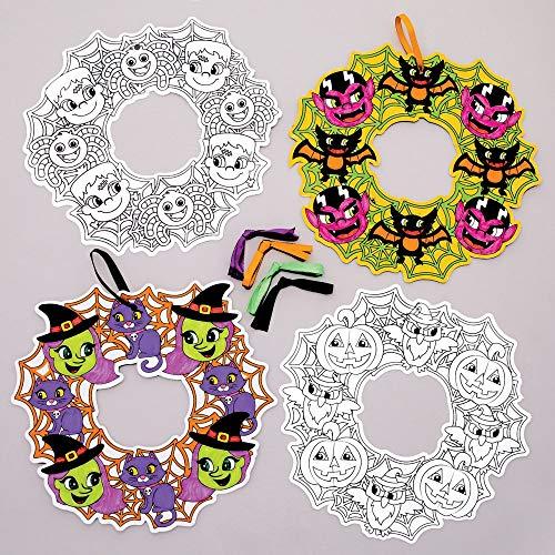Baker Ross Kits de guirnaldas de Monstruos para niños, Ideales para Decoraciones de Halloween, Adornos, Placas de Puertas, Actividades de Fiesta y más. (Paquete de 8)