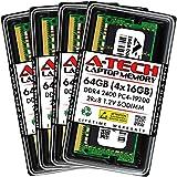 A-Tech 64GB (4x16GB) DDR4 2400MHz SODIMM PC4-19200 2Rx8 Non-ECC CL17 1.2V 260-Pin SO-DIMM Laptop Notebook Computer RAM Memory Upgrade Kit