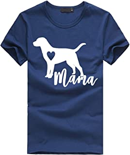Women's Mama Dog Funny T Shirts Short Sleeve O-Neck Letter Print Tops Casual Blouse SADUORHAPPY