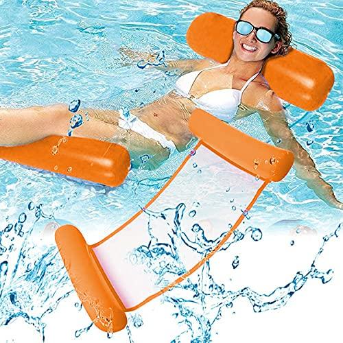 Esteopt amaca galleggiante per piscina, amaca gonfiabile, amaca leggera, sedia galleggiante da letto, zattera, portatile, per piscina, spiaggia, cortile, giocattoli per bambini e adulti (arancione)