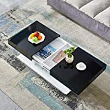 Wohnzimmer Couchtisch groß schwarz hochglänzend, mit einer versteckten Schublade Schließfächer...