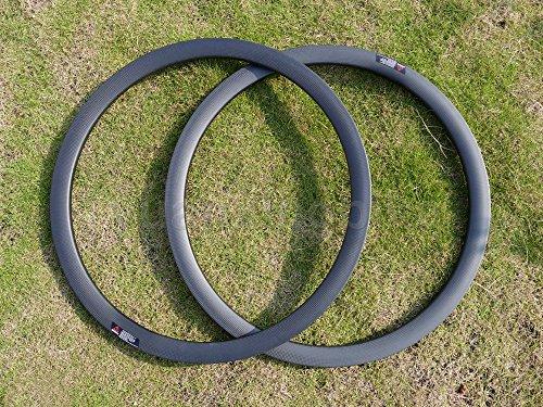 Yuanxingbike Toray Cerchi in Carbonio Pieno Carbonio UD Matt Road Bike Clincher Cerchio 38mm Disco Freno Cerchi Ruota Fori : 24, 24