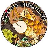 AK Giftshop Decoración para tarta de cumpleaños con queso, redondo, 20 cm, cualquier edad y nombre