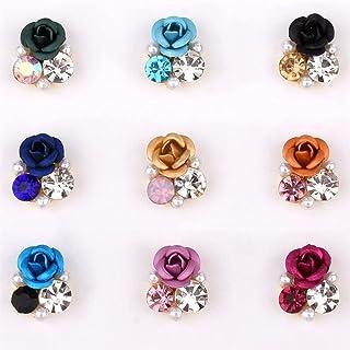 90 stks Bright Pearl Rhinestone Flower Design Legering Nail Art Decoraties Glitter DIY 3D Nail Jewelry Hanger