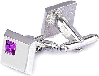 Aooaz Cufflinks Jewelry Square Cubic Zirconia Wedding Cufflinks for The Groom Silver