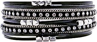 Womens Leather Wrap Bracelet Bohemian Jewelry Cuff Bangle Baroque Pearl Crystal Bead Bracelet Rhinestone Handmade Magnetic Clasp Bracelet for Women Girls