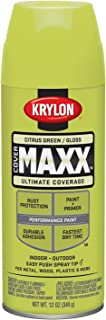 Krylon K09113000 COVERMAXX Spray Paint, Gloss Citrus Green, 12 Ounce