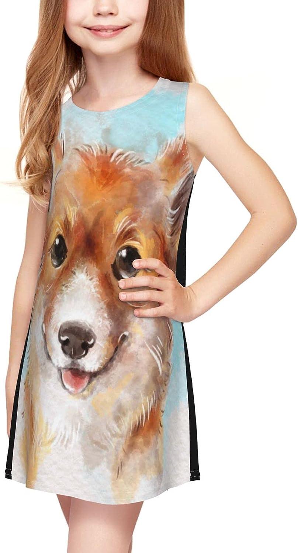 Welsh Corgi Girl Sleeveless Dress,Gold Corgi Dog Cute Kawaii Doggy Casual Crew Neck Girls Sundress 2-6 Years