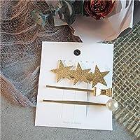 幾何学不規則な金属ヘアピン Imitiation 真珠バレッタスター葉の形状ヘアクリップヘアアクセサリー pince cheveux ファム