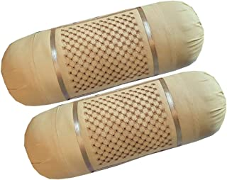 HSR Collection 100% Cotton Embroidered Stone Designed Bolster Cover - Set of 2, Beige