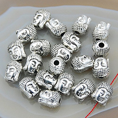 AD Beads Solid Metal Crown & Buddha Bracelet Connector Spacer Charm Beads 20 Pcs (Two Sided Buddha Head (Vintage Antique Silver))