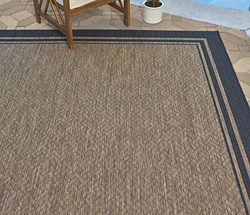 Gertmenian 21359 Nautical Tropical Carpet Outdoor Patio Rug, 8x10 Large, Border Black