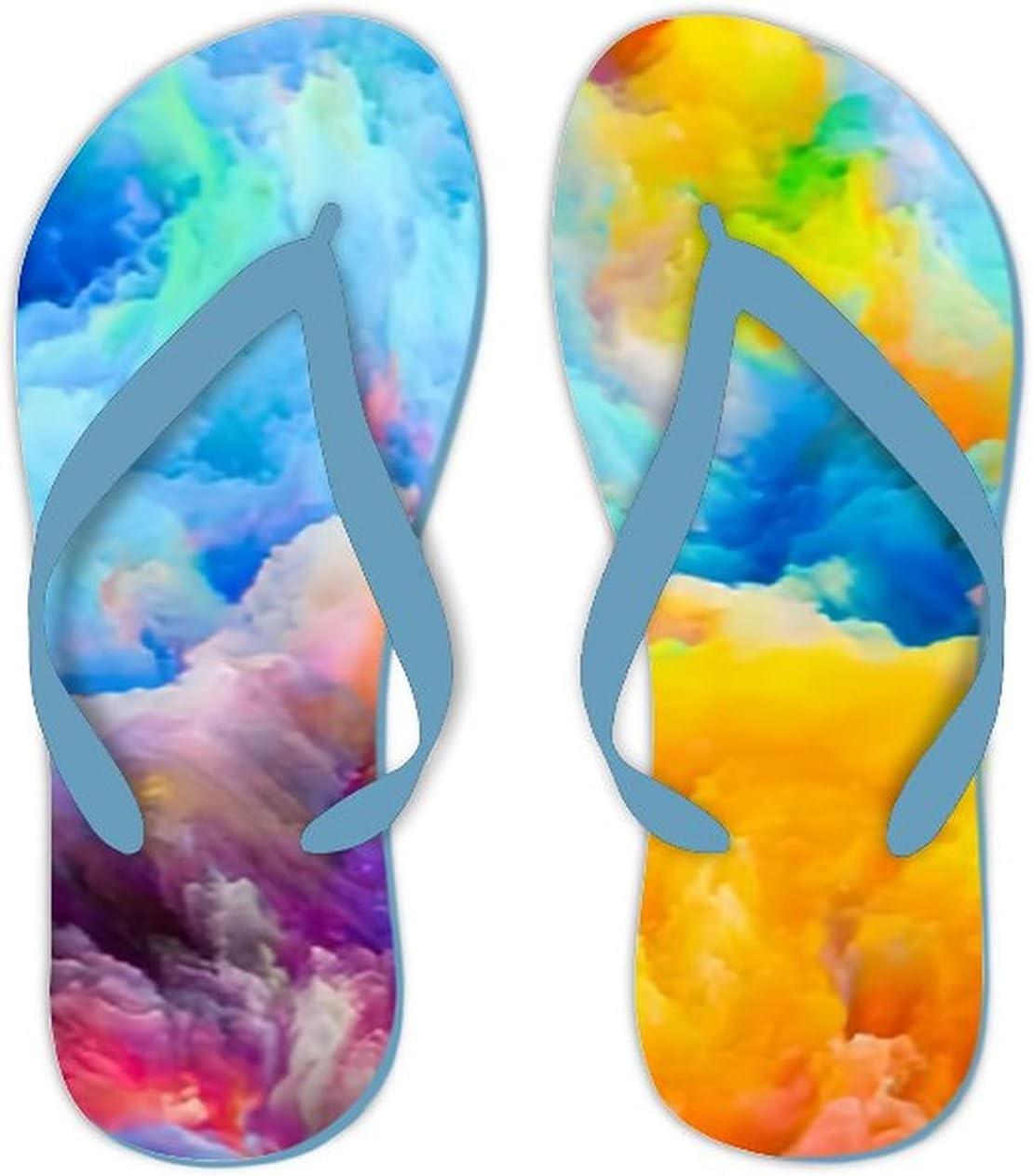 Summer Flip Flops for Men Women Colors Composition Colorful Soft Lightweight Non Slip Sandals for Shower Beach Pool Bathroom Flat 9