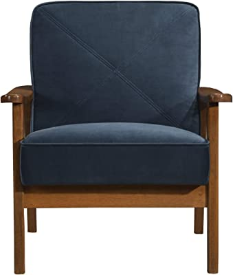 Artum Hill Accent Chair with Wood Frame and Velvet Fabric Living-Room-Furniture-Sets, Mid-Century Blue