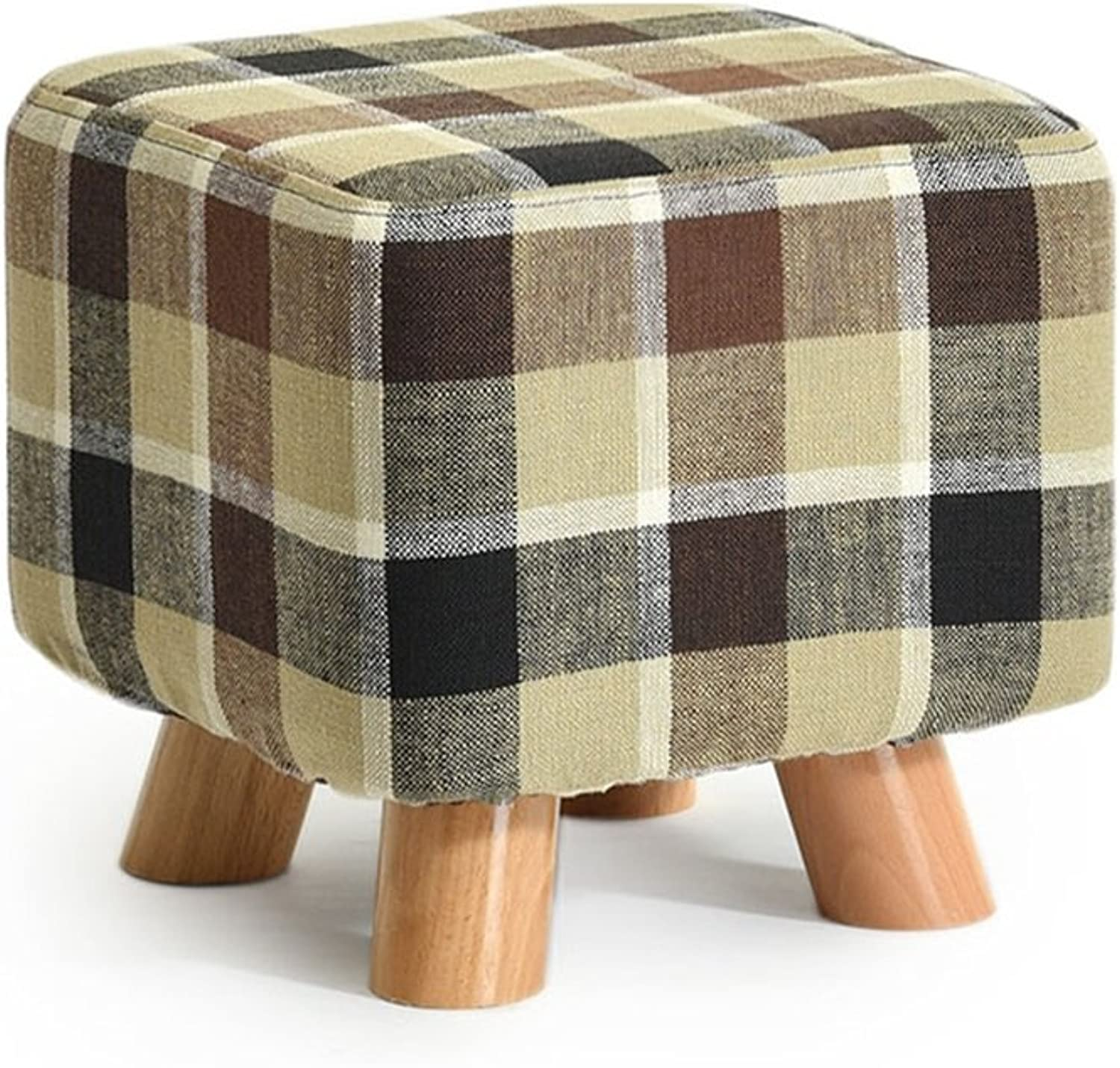 Solid Wood shoes Stool Square Upholstered Footstool Sofa Low Stool Footrest Small Seat Foot Rest Chair Brown Stripes
