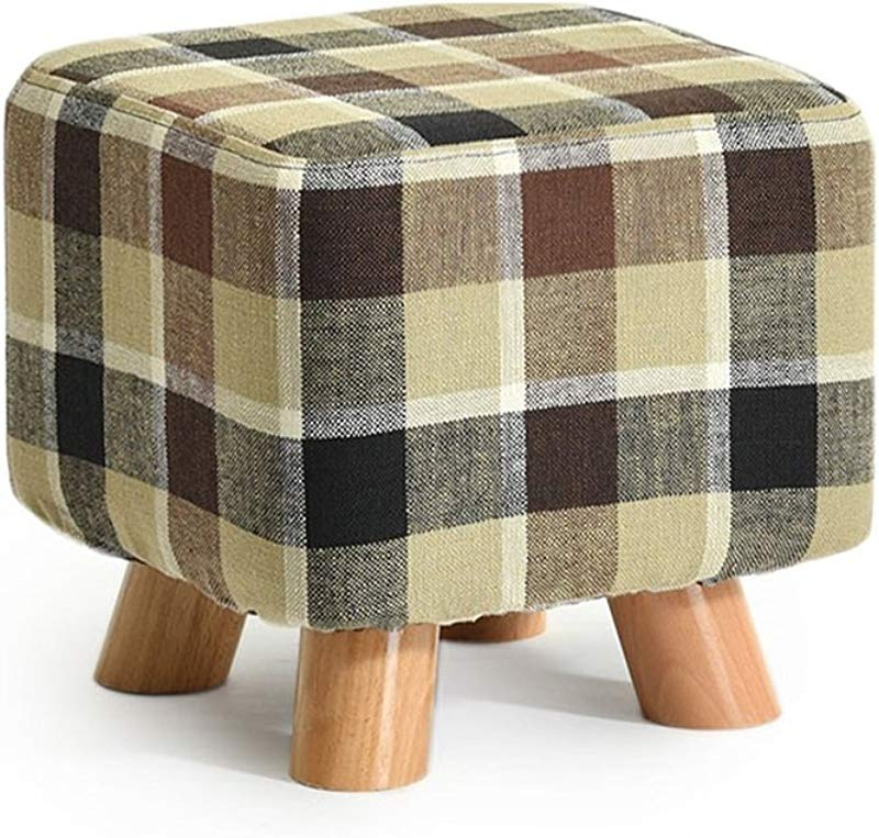 YAnFAn Stools Footstool Ottomans Premium Quality Comfort Solid Wood Shoes Stool Square Upholstered Footstool Sofa Low Stool Footrest Small Seat Foot Rest Chair Brown Stripes For Home Commercial