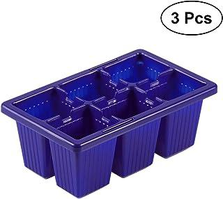 BESTOMZ Bandeja para Semillas de 6 Células de Plástico 3 Piezas (Azul)