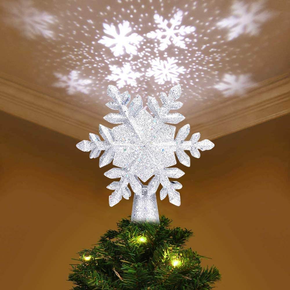 YZHI Christmas outlet Bombing free shipping Tree Topper Snowflake Ornaments Lighted Projector