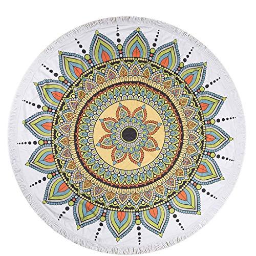 WLA Yoga-Matte Multifunktions Exotische Runde Yoga-Matte - Wasseraufnahme Hippy böhmische Tapisserie, Strandmatte, Tischdecke, Picknick-Decke, Rund Yoga-Matte (Color : D)