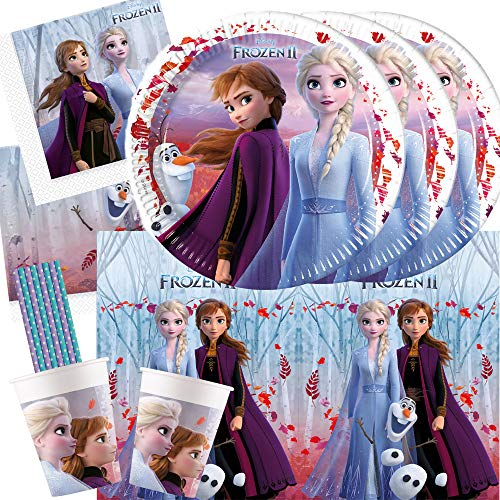 spielum 45-teiliges Party Set Frozen - Die Eiskönigin 2 - Teller Pappbecher Servietten Tischdecke Trinkhalme für 8 Kinder