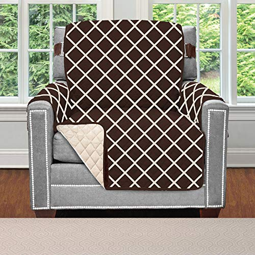 Sofa Shield Original Patent Pending Reversible Chair Protector for Seat Width to 23 Inch, Furniture Slipcover, 2 Inch Strap, Chairs Slip Cover Throw for Pets, Cats, Armchair, Diamond Chocolate Beige