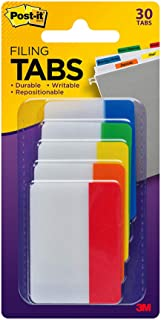Post-it Tabs, 2 in, Solid, Assorted Colors, Sticks Securely, Removes Cleanly, Great for Binders, Notebooks and File Folders, 6 Tabs/Color, 5 Colors, 30 Tabs/Pack, (686-ROYGB), Assorted Primary Colors