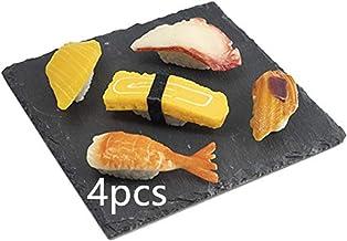 مجموعة أطباق السوشي 4 قطع، 20 × 20 سم (7.8 × 7.8 بوصة) أطباق مسطحة مسطحة لالسوشي صينية لتقديم السوشي، طبق أطباق أطباق بلاك...
