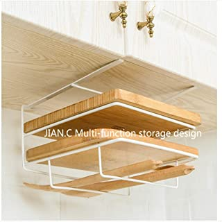 JIAN.C Over Cabinet Door Organizer Rack Storage Basket in Kitchen or Pantry for Cutting Boards and Baking Sheets Towel Bar Holder Cabinet Thickness Max 1 inch