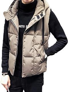 [CAIXINGYI] 秋 冬 男性 ベスト ノースリーブ ダウン コットン フード付き 4色 コート 暖かく保つ ハンサム トレンド