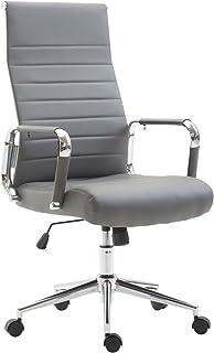 CLP Roterande kolumbus med konstläder I chefsfåtölj med steglös justering av sitthöjden I kontorsstol med löphjul, färg: grå