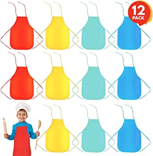 ArtCreativity Child-Size Apron Assortment - Set of 12 Children's Aprons - Supplies for Arts and Crafts, Cooking, Painting, Baking, Dress Up, Paint Party - Fun Assorted Colors
