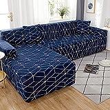 WXQY Funda de sofá Multifuncional para Sala de Estar, Funda de sofá geométrica elástica, combinación de protección para Mascotas, Funda de sofá Antideslizante A19, 3 plazas