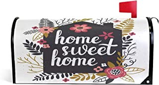 Home Sweet Welcome Magnetic Mailbox Post Box Cover Wraps, Flower and Leaves Standard Size Makover MailWrap Garden Home Decor