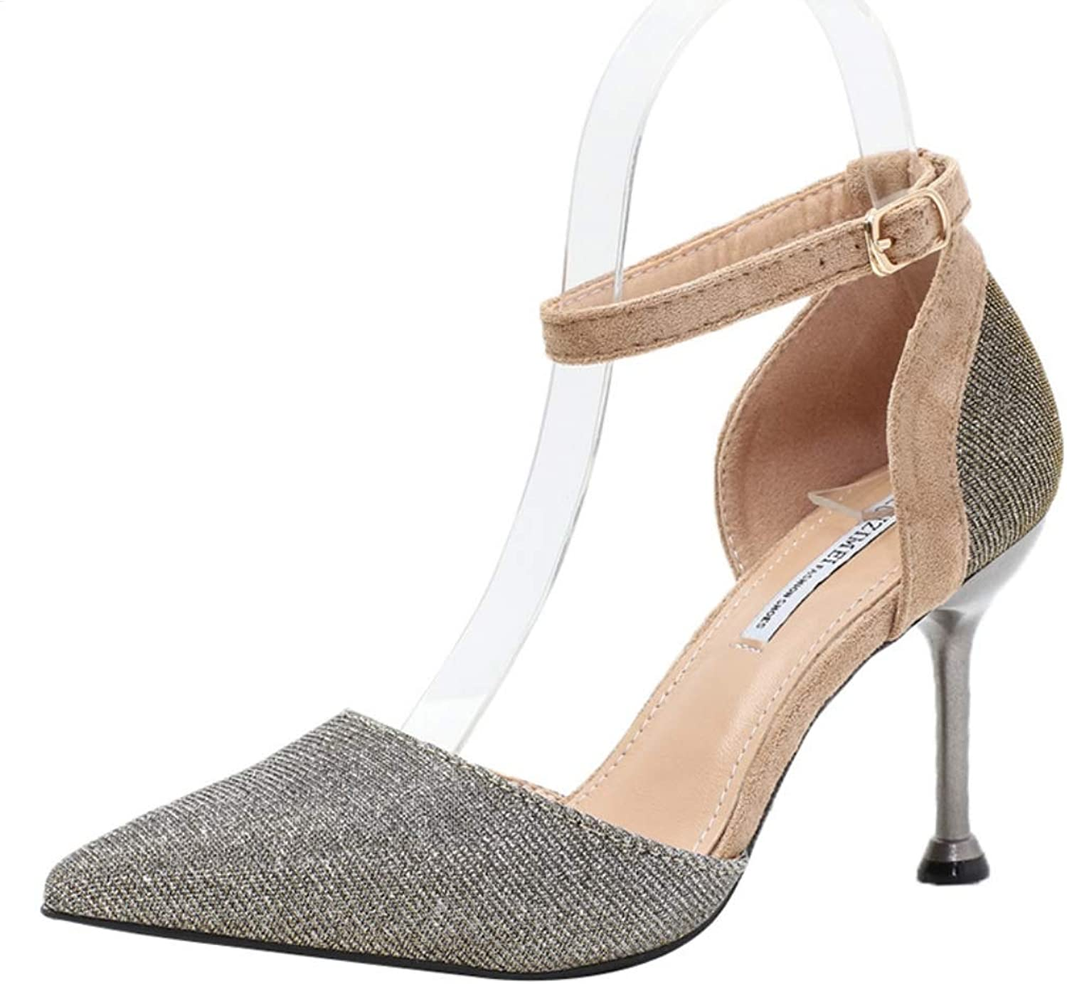 Womens High Heel Stiletto shoes Glitter Ankle Strap Heels Evening Party Special Occasion shoes Court shoes Bridal Party Dress Sandals Size