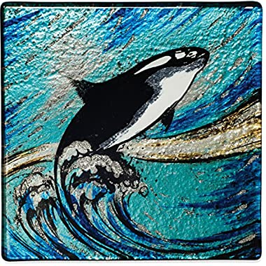 Angelstar 19534 Orca Whale Glass Coaster, Set of 4, 4 , Multicolor